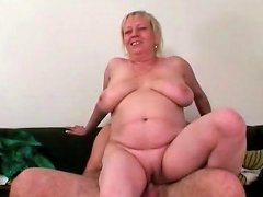 Mother In Law Rides Him With Her Shaved Pussy