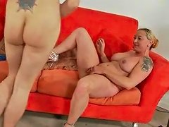 His Cock Fucks Curvy Mom And Slim Blonde