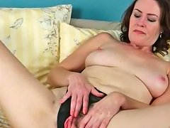 Mom In A Pink Baby Doll Rubs Her Hairy Cunt