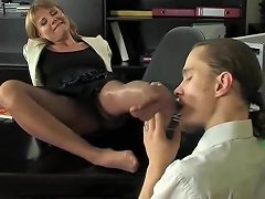 Stocking Fetish In The Office